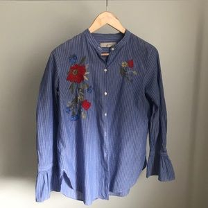 Embroidered jean shirt